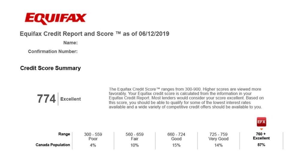 Equifax Credit Score report Realtor Andrei Peresunko Кредитный рейтинг