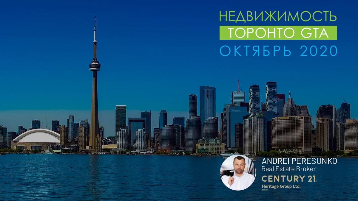 заставка - Обзор рынка Недвижимости Торонто Октябрь 2020 Andrei Peresunko Realtor Toronto
