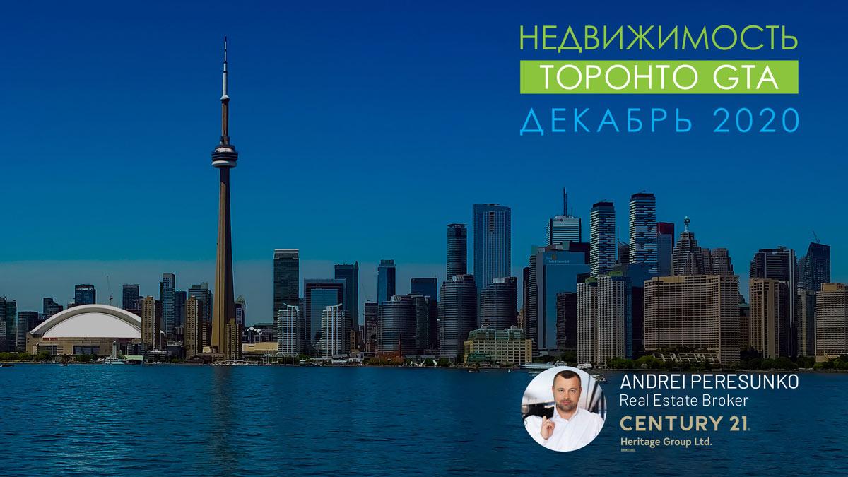 заставка - Обзор рынка Недвижимости Торонто Декабрь 2020 Andrei Peresunko Realtor Toronto